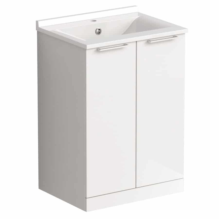 Akido 600 2 Door Unit Gloss White with SMO Basin