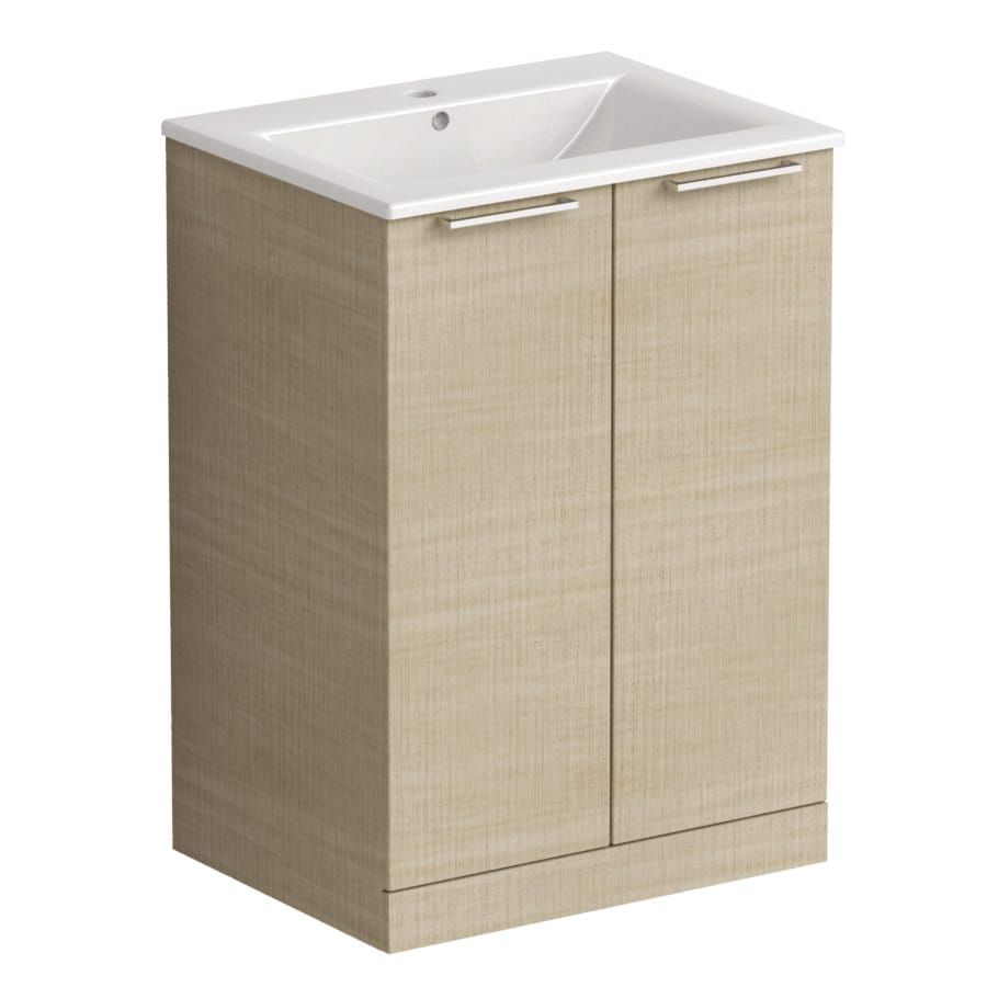 Akido 600 2 Door Unit Linen Ash with Akido Basin