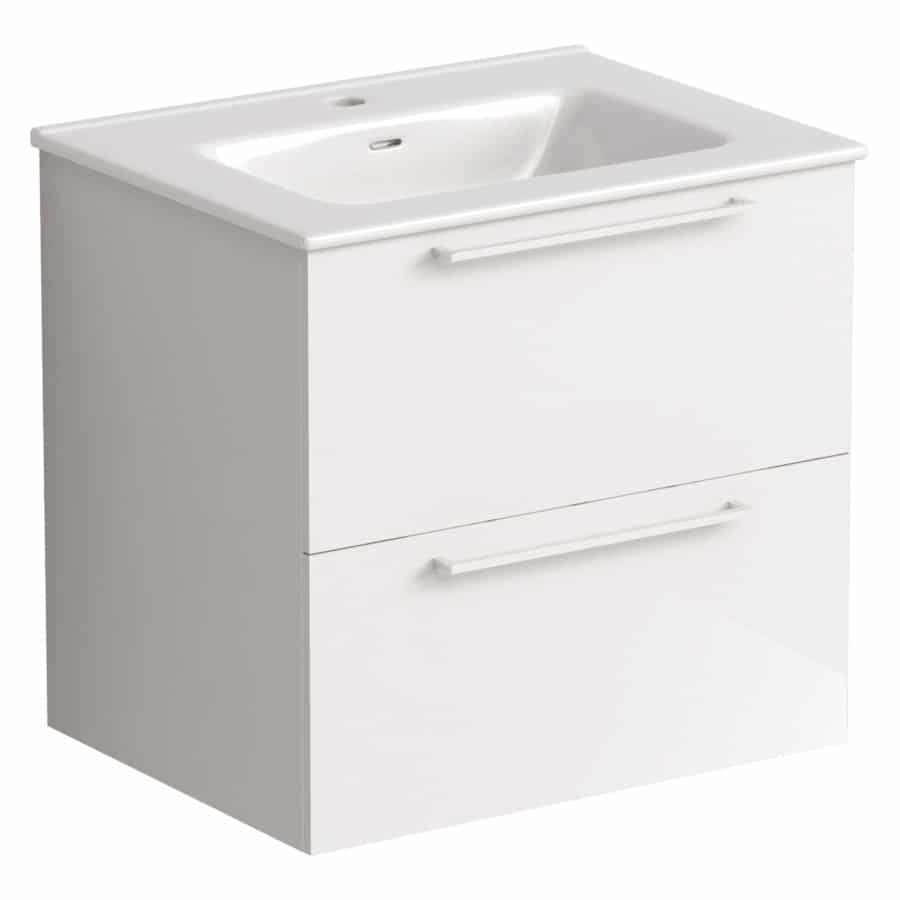 Akido 600 2 Drawer Unit Gloss White with Boss Basin