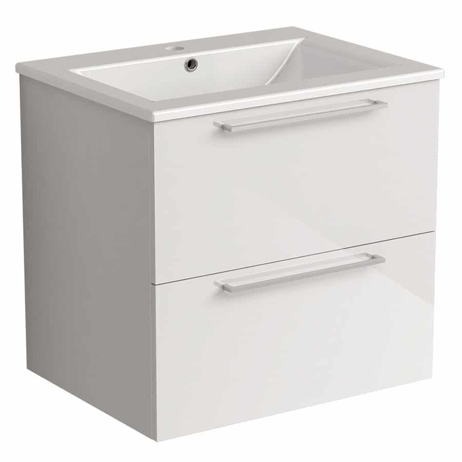 Akido 600 2 Drawer Unit Gloss White with Akido Basin