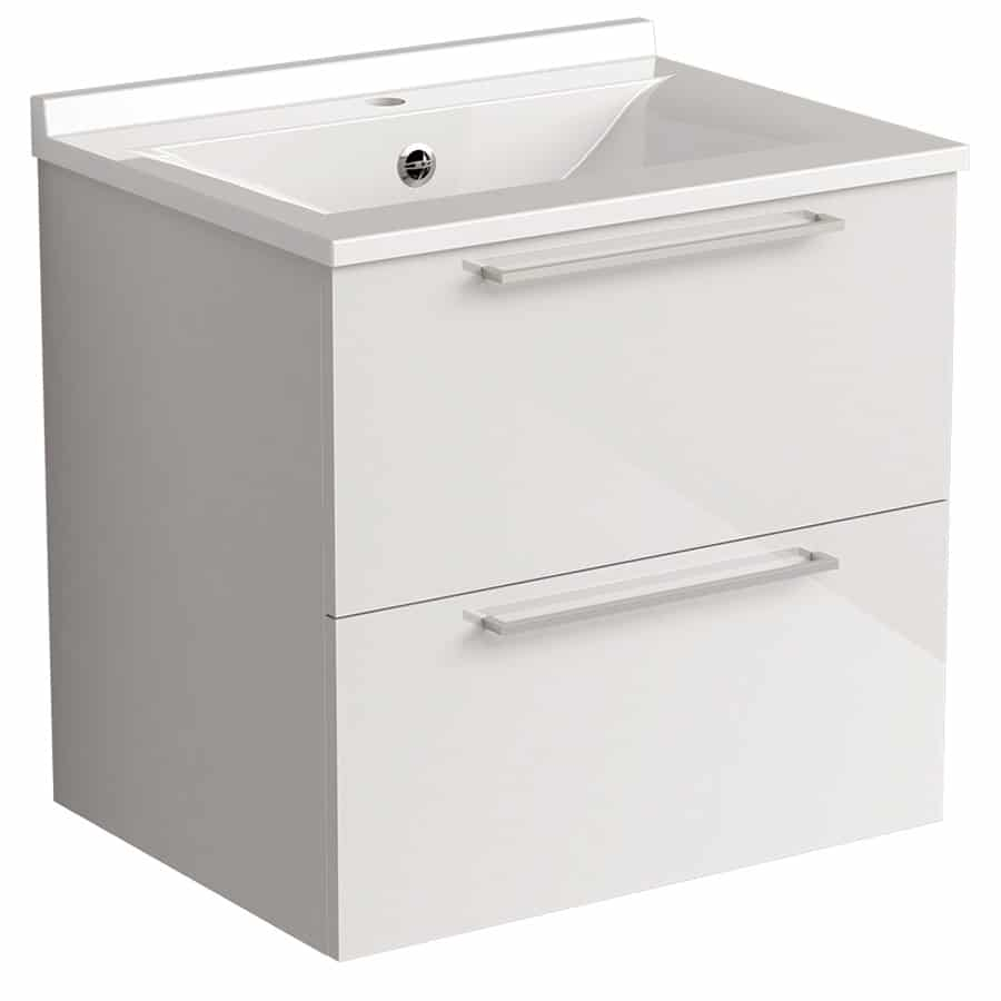 Akido 600 2 Drawer Unit Gloss White with SMO Basin