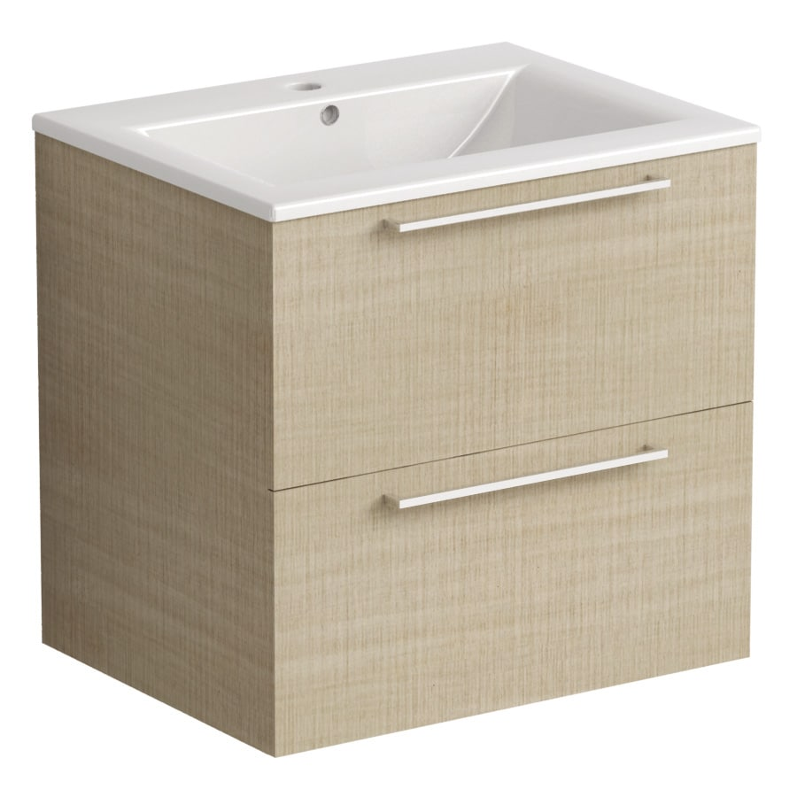 Akido 600 2 Drawer Unit Linen Ash ith Akido Basin