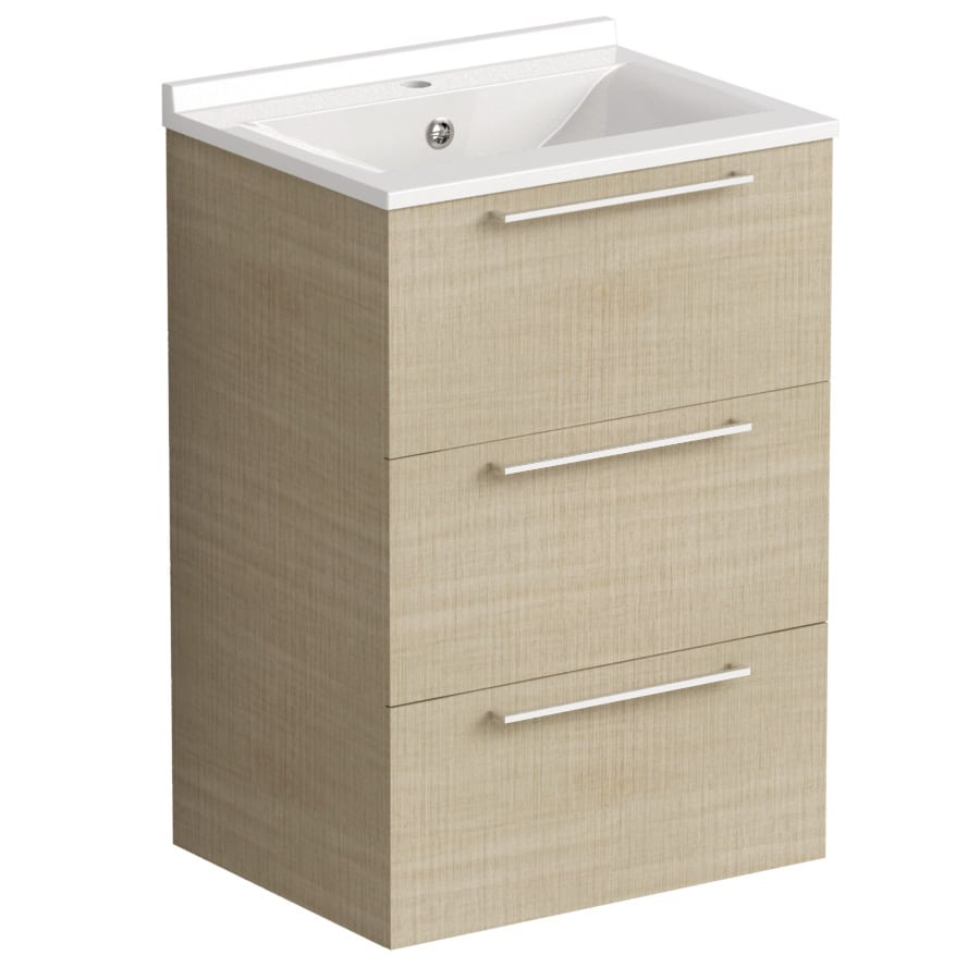 Akido 600 3 Drawer Unit Linen Ash with SMO Basin