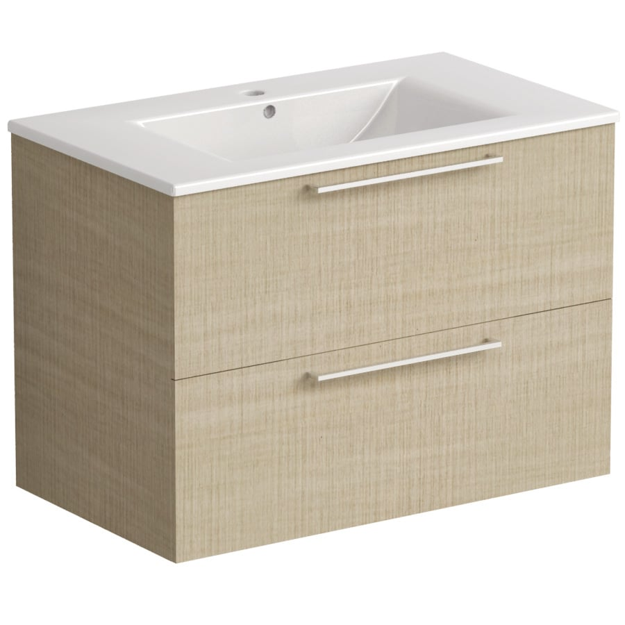 Akido 800 2 Drawer Unit Linen Ash with Akido Basin