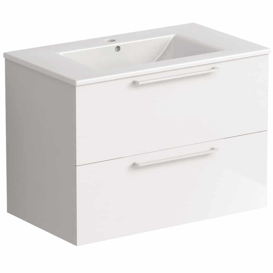 Akido 800 2 Drawer Unit Gloss White with Akido Basin