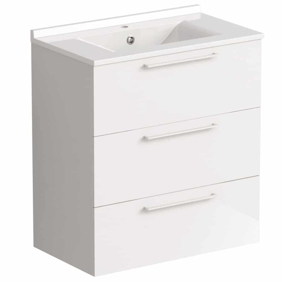 Akido 800 2 Drawer Unit Gloss White with SMO Basin